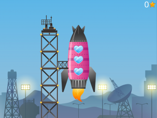 Between spelling, kids select parts of their rocket and then fly it into space.