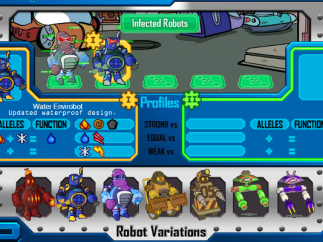 Learn a robot's weakness to decide which traits will defeat it.