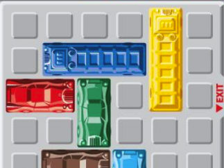 Players need to get the red car out of rush-hour traffic in as few moves as possible.