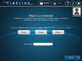 The student's name and the title of the timeline appear on the final version.