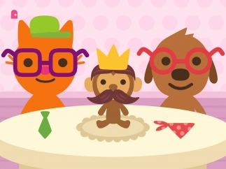Dress up your character, your friend, and a stuffed animal monkey.