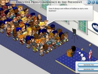 Holding a press conference in Branches of Power