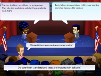 In each playthrough, students ask the candidates five questions.