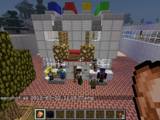 Students building in Minecraft