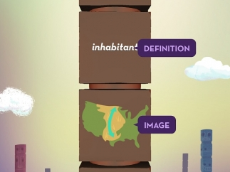 In the totem pole game, students match the word, definition, image, and antonym.