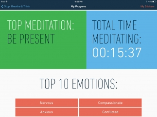 """Users can track their progress, including their top emotions and top meditation, their total time meditating, and their weekly """"settledness""""."""