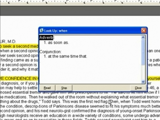 Example of dictionary and thesaurus pop-up box.