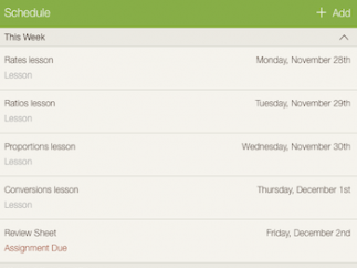 The schedule view simplifies the planning process.