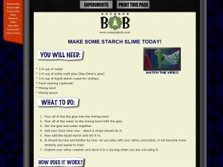 Science Bob provides instructions on how to do science demonstrations and ideas for turning them into experiments.