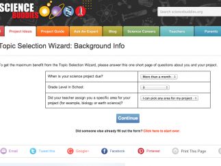 The ingenious Topic Selection Wizard uses students' answers to prompts to give personalized project suggestions.