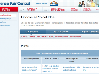 Getting Started tools help kids pick a topic and design an investigation.