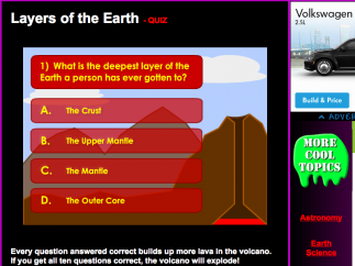 Online quizzes in the Earth Science section help check reader comprehension.