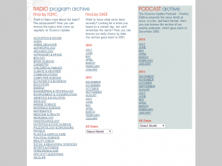 Archived radio programs are organized by date and topic.
