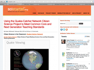 Blog articles (wordy, yet relevant) provide classroom info and NGSS/CCSS connections for a few of posted projects.