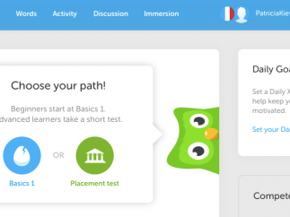 Duolingo lets users learn languages through a series of quizzes and games. Users first pick their level and progress through simple questions.
