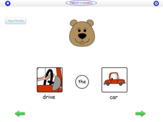 In the first level, kids tap on each part of the phrase to tell the character what to do.