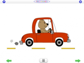 Students are rewarded for creating the appropriate phrase with simple, cute animations.