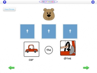 In more challenging levels, students must drag and drop parts of the phrase to the correct location.