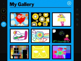 The private gallery allows kids to save their artwork.