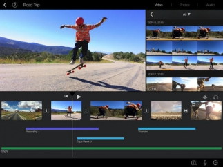 Assemble and edit video, photos, and music in the timeline (bottom of screen), view content stored in iMovie Media (upper right), and watch project in real time in quarter-screen display (upper left).