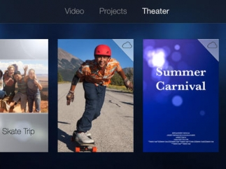 Theater mode holds all your finished iMovies and lets you share them via AirPlay and iCloud (account required; watch storage limits).