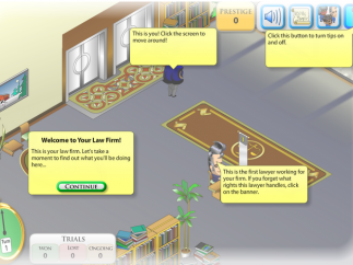 Text-based supports help players navigate the law firm.