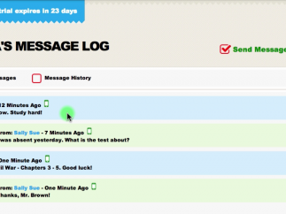 A complete log is saved for every text thread.