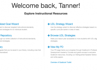 From the homepage, users can access the Goal Wizard, Repository, their saved goals (Library) as well as UDL strategies.