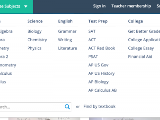 Brightstorm is a website that offers short video lessons on various subjects within the categories of English, history, math, science, and test prep.