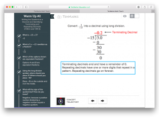 TenMarks' Teach tool offers nicely designed direct-instruction presentations.