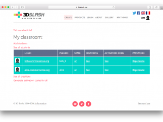 The teacher dashboard is spartan but functional.