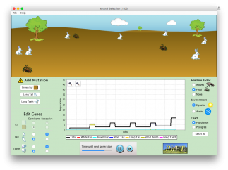 The natural selection simulator includes simple controls and excellent mathematical visualizations.