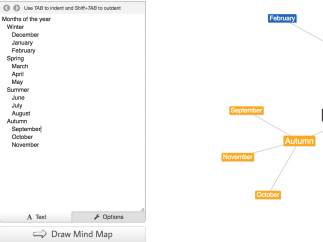 Type text in the field on the left and a concept map will be produced on the right.