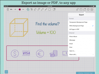 Users can export their work as an image or as a PDF.