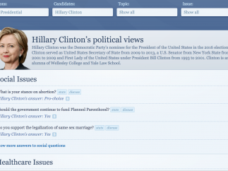 Check out the political views of presidential candidates from current or past elections.
