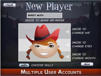 The game supports multiple user accounts, with customizable avatars.
