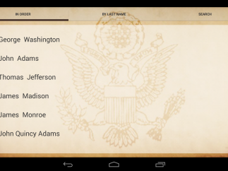 "The ""Lookup"" setting lets users browse presidents by name and in order. Users can also search presidents by name."