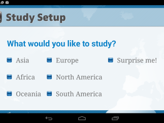 """In the """"Study"""" section of the app, users can target certain areas of the globe to study or choose """"Surprise Me"""" to explore at random."""