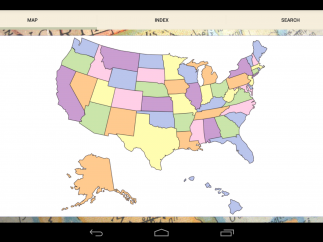 Users can also navigate the flashcards by tapping on a U.S. map.