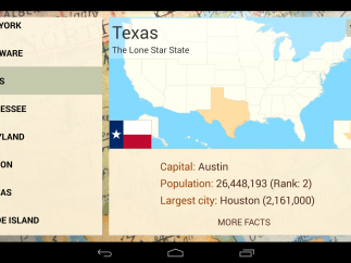 Users can browse info on each state, including its size, largest city, state flag, and postal abbreviation.