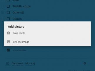 Users can upload images from their device or take a photo with the device's camera.