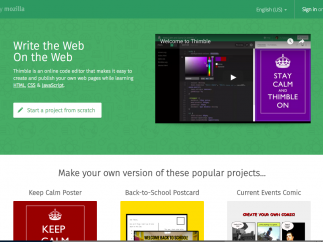 Thimble provides an easy-to-use Web-page-creation platform.