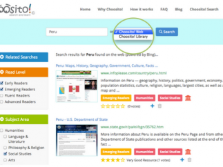 Users can search the Choosito library or the web.