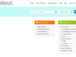 Students can search options by reading level and subject area.