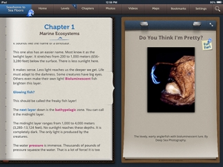 Content is organized into five chapters of text with supporting media on each page.