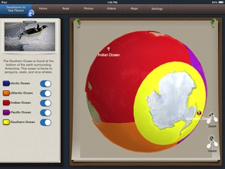 An interactive maps shows the locations of Earth's oceans.