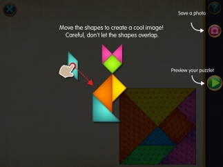 Animated tutorials show kids how to move shapes.