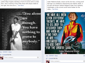 The SheHeroes Facebook page is active and filled with positive imagery.