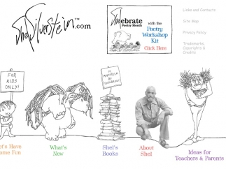 "ShelSilverstein.com includes a kids corner, a teachers and parents section, and a link to lesson plans for ""Shelebrating"" Poetry Month."
