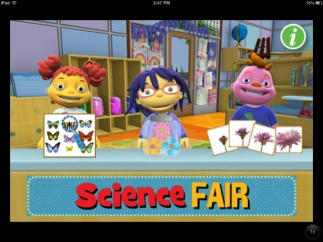 Three science-fair-themed activities have recognizable characters.
